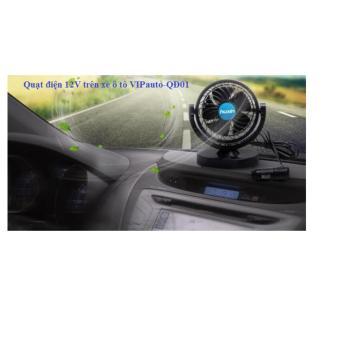 Quạt điện mini xoay 360 dùng điện 12V trên xe ô tô VIPauto-QĐ01