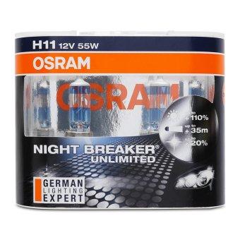 Bộ 2 Bóng đèn ô tô Osram H11 Night Breaker Unlimited (Trắng xanh)