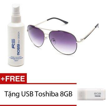 Bộ 1 kính mát nam và 1 chai nước rửa kính MKH 7011 (Đen khói) + Tặng 1 USB Toshiba 8GB