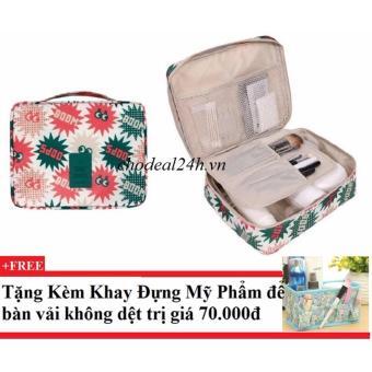 Combo 2 Túi đựng đồ du lịch cá nhân Hoa văn mẫu mới vàng CD05 + Tặng kèm khay đựng mỹ phẩm để bàn