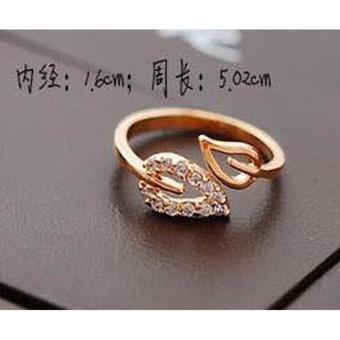 Nhẫn chiếc lá đính hạt phong cách Hàn (màu vàng)