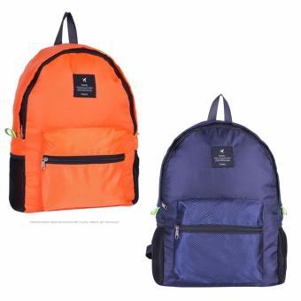 Combo 2 Balo du lịch gấp gọn (cam + xanh đen)