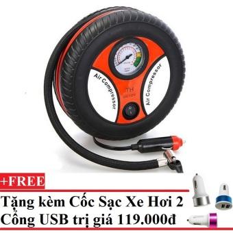 Máy bơm lốp ô tô Air Compressor 260PSI + Tặng 1 cốc sạc xe hơi 2 cổng USB