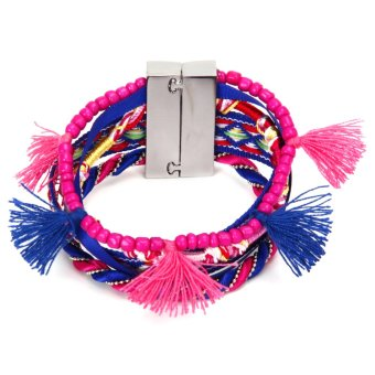 Bohemian Women Braided Tassel Bracelet Royalblue - Intl