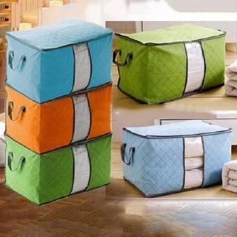 Bộ 3 túi vải đựng chăn màn quần áo (xanh dương)
