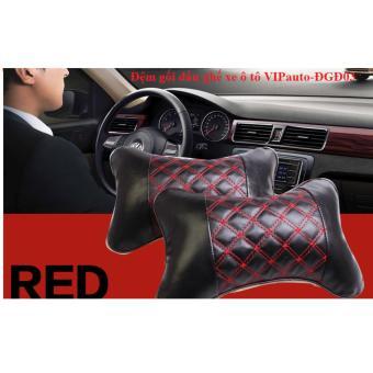 Bộ 02 Gối đầu ghế xe ô tô VIPauto-ĐGĐ03- đen chỉ đỏ