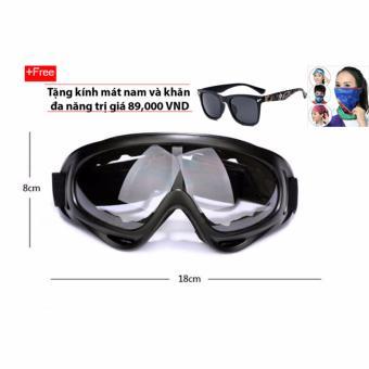 Kính bảo hộ chống bụi và tia UV (Kính trắng) + Tặng kính mát và khăn đa năng