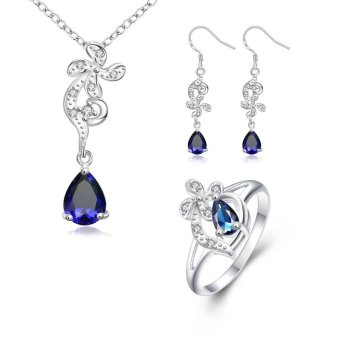 S123-A Trendy 925 Silver Plated Rhinestoned Earrings Ring Necklace Jewelry Sets - Intl