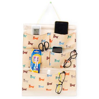 Túi treo 5 ngăn vải dày chống thấm + thanh gỗ (Nâu)