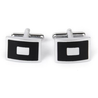 Stainless Steel Men Cuff Link Cufflinks Black and Silver Square - intl