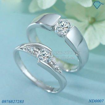 Nhẫn đôi Nhẫn cặp bạc đẹp ND0007