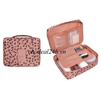Túi du lịch đựng mỹ phẩm và đồ cá nhân CD02 mẫu hoa văn da beo chodeal24h (da beo hồng)