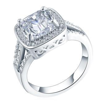 Lady Square Geometric Zircon Rhinestone Copper Party Wedding Ring - intl