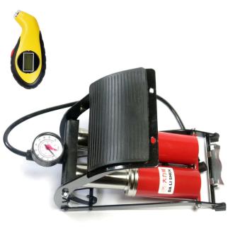 Bộ 1 bơm hơi đạp chân Mini đa năng và 1 đồng hồ đo áp suất lốp xe điện tử SM132 (2 Pittong)