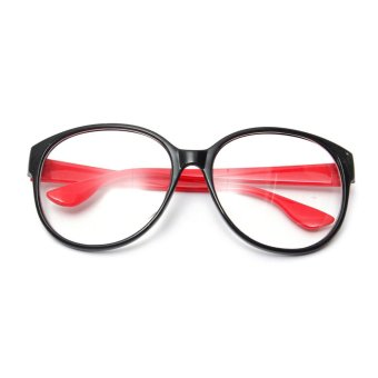 Retro Round Lens Eyeglass Frame Decoration Black-Red (Intl)