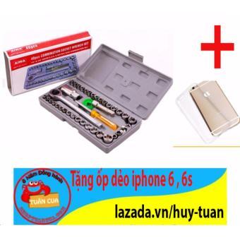 Bộ dụng cụ sửa chữa ô tô xe máy 40 món + Free 1 ốp dẻo điện thoại iphone 6 , 6s