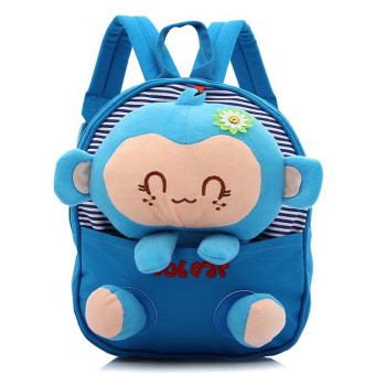 Kids Boys Girls Cartoon Monkey Shape Canvas School Bag Azure - intl
