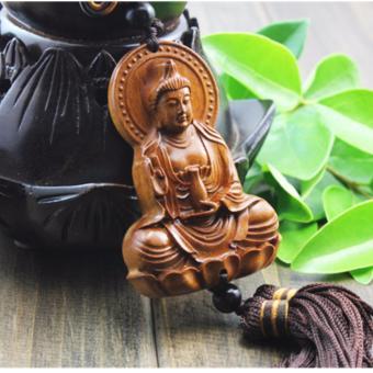Tượng phong thủy treo gương chiếu hậu xe ô tô hình Đức Phật Quan Âm hộ mệnh F130 (Gỗ)