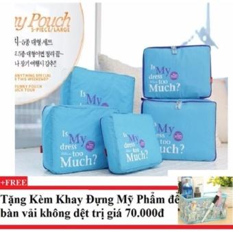 Bộ 5 túi Bag in bags tiện dụng (xanh dương) + Tặng kèm khay đựng mỹ phẩm để bàn