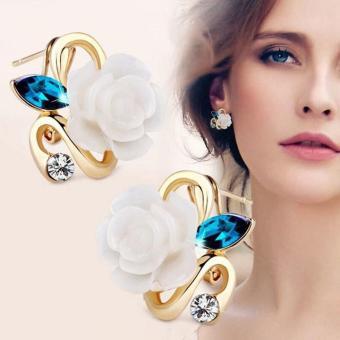 Bông tai nữ hoa hồng thời trang đính đá lâp lánh HKE-E878 (Trắng)