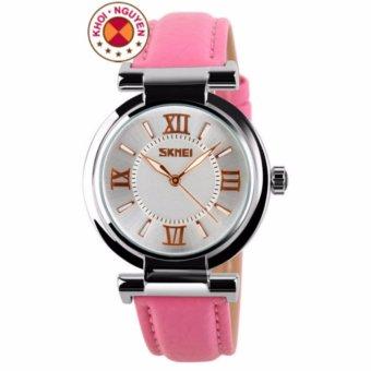 Đồng hồ nữ dây da Skmei 9075 (Hồng)