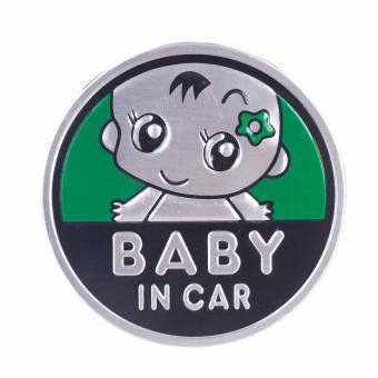 Logo Baby In Car dán xe ôtô (lá-tròn 7cm)
