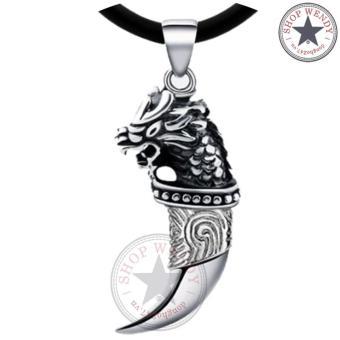 Mặt dây cổ nam nanh sói bạc mã lai Wendy T46 (Bạc)