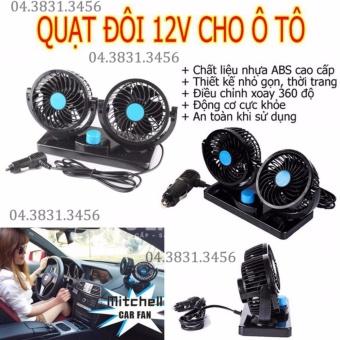 Quạt máy đôi mini 12V trên ô tô, xe hơi tùy chỉnh (Đen)