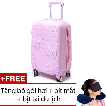 Vali nhựa hoạ tiết mèo (Hồng) + Tặng bộ 1 gối hơi + 1 bịt mắt + 1 cặp bịt tai du lịch