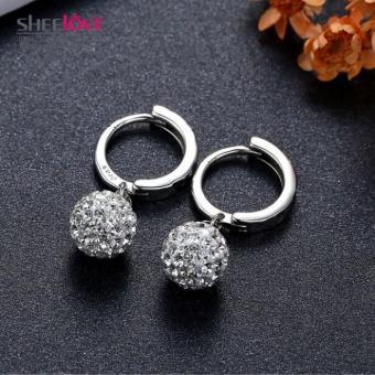 Bông tai mạ bạc Shambhala pha lê lấp lánh thời trang SPE-B148 (Bạc)