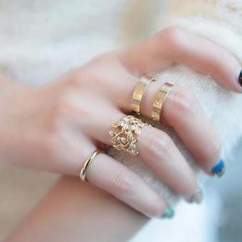 Bộ 3 nhẫn khắc lá bản to