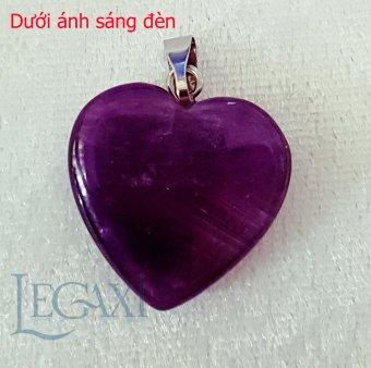 Mặt dây chuyền thạch anh tím tự nhiên mài trơn hình trái tim