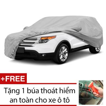 Bạt che phủ bảo vệ cho ô tô 4 chỗ Size L 482x175x119 HQ STORE 1TI37-2 (xám bạc) + Tặng 1 búa thoát hiểm an toàn cho xe ô tô