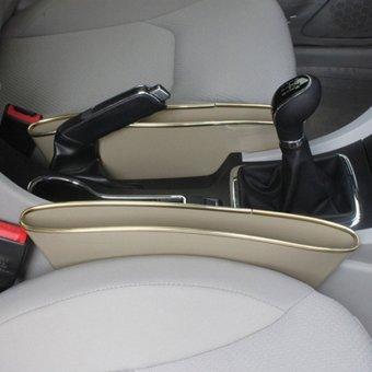 Bộ 2 khay để đồ khe ghế ô tô (Kem)