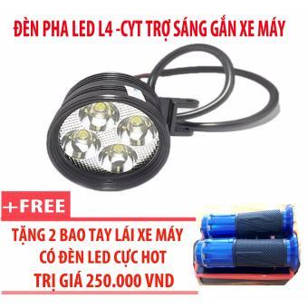Đèn pha led L4-CYT trợ sáng gắn xe máy + 2 bao tay lái xe máy có đèn led (xanh)