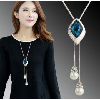 Vòng cổ kiểu Hàn Quốc đính đá quý ngọc trai Royal Queen Victoria Jewelry- Diamond geometric precious stones pearl necklace NM0035 silver