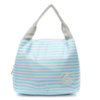 Insulated Thermal Lunch Box Storage Bag Bento Carry Totes Picnic Pouch Container Blue Stripes (Intl)