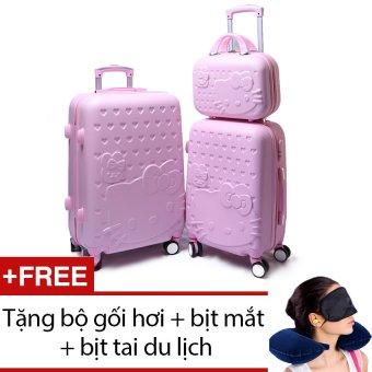 Bộ 3 vali 24 inch + 20 inch và 14 inch hoạ tiết mèo (Hồng) + Tặng bộ 1 gối hơi + 1 bịt mắt + 1 cặp bịt tai du lịch