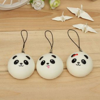 1PCS Soft Cute Panda Squishy Kawaii Buns Bread Charms Cell Phone Bag Key Strap - intl