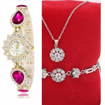Bộ trang sức inox vòng tròn trái tim lãng mạn, đồng hồ thời trang cb054