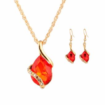 Fancyqube Fashion Jewelry Sets Tibetan Turquoise Chain Necklace & Pendants Gold Plated Water Drop Shaped Stud Earrings Women Collar Red(White) - intl