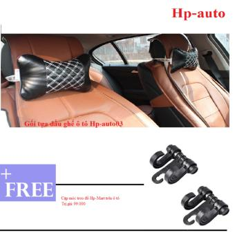 Combo 2 Gối tựa đầu ghế xe ô tô Hp-auto03 (Đen chỉ trắng) + Tặng Cặp móc treo đồ trên ô tô