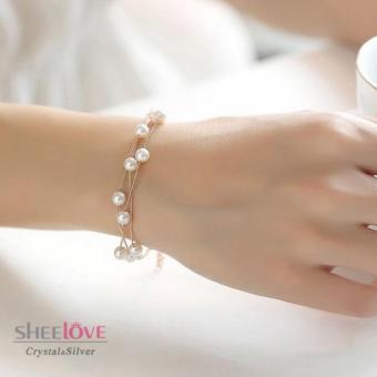 Vòng Tay Nữ Ngọc Trai Thời Trang Cao cấp phong cách Hàn Quốc HKB-D1606115 (Vàng)