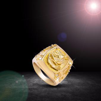 Nhẫn Nam Rồng Vuông Mạ Vàng - 04