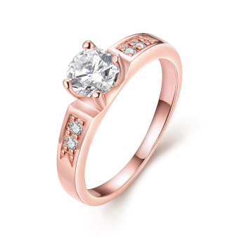 Nickle Free Antiallergic Alloy Jewelry Rose Gold Plated Ring (8#) - intl