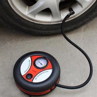 Máy bơm lốp xe hơi xe máy mini đồng hồ 12V cồng mồi thuốc