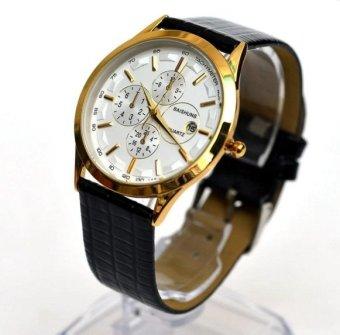 Đồng hồ nam dây da Baishuns BS03( trắng phối đen)