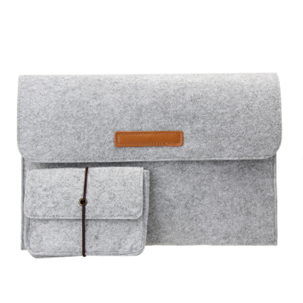 2016 New Woolen Felt Clutch Bag For Tablet Macbook Flip Bladder Bag 2pcs(13inch) - intl