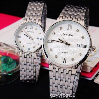 Đồng hồ đôi dây inox cao cấp BAISHUNS DBA988