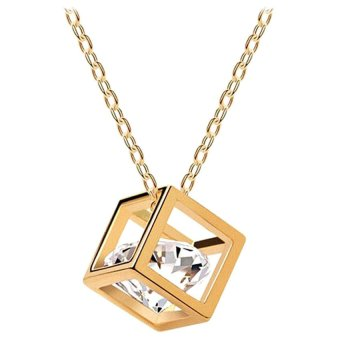 Mua Women Chain Crystal Rhinestone Square Pendant Alloy Necklace Jewelry (Gold) giá tốt nhất